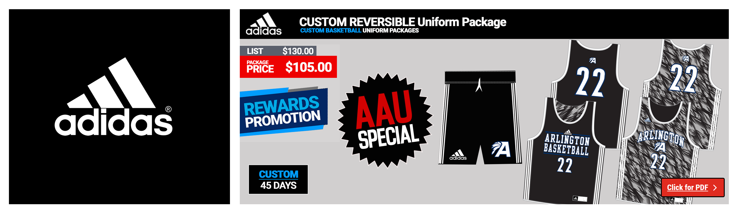 Adidas Custom Reversible Basketball Uniform Packages