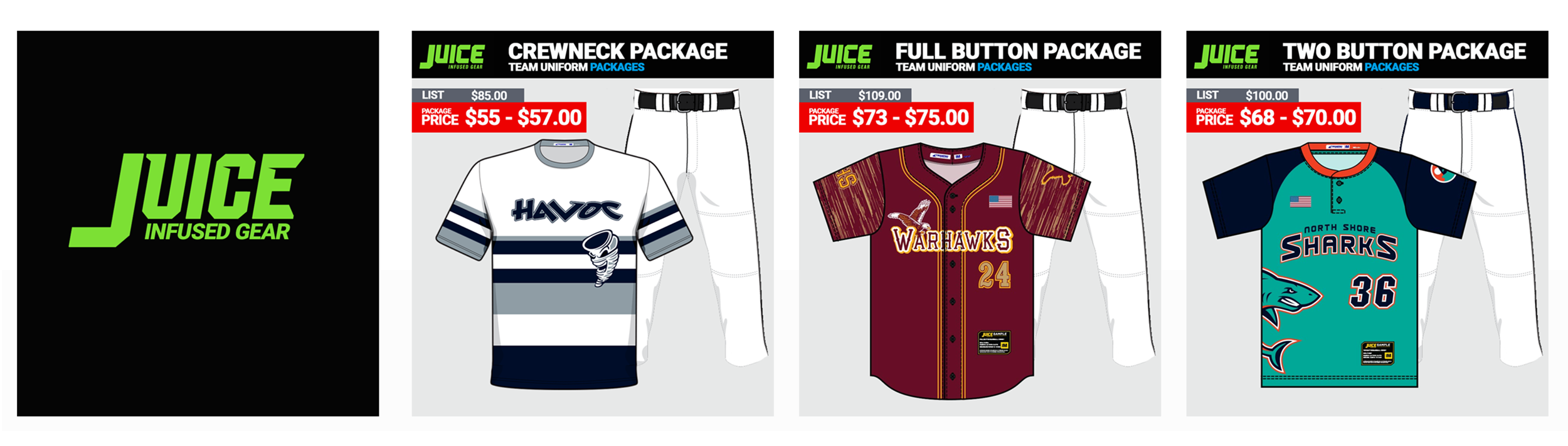 Champro Juice Baseball Uniform Packages