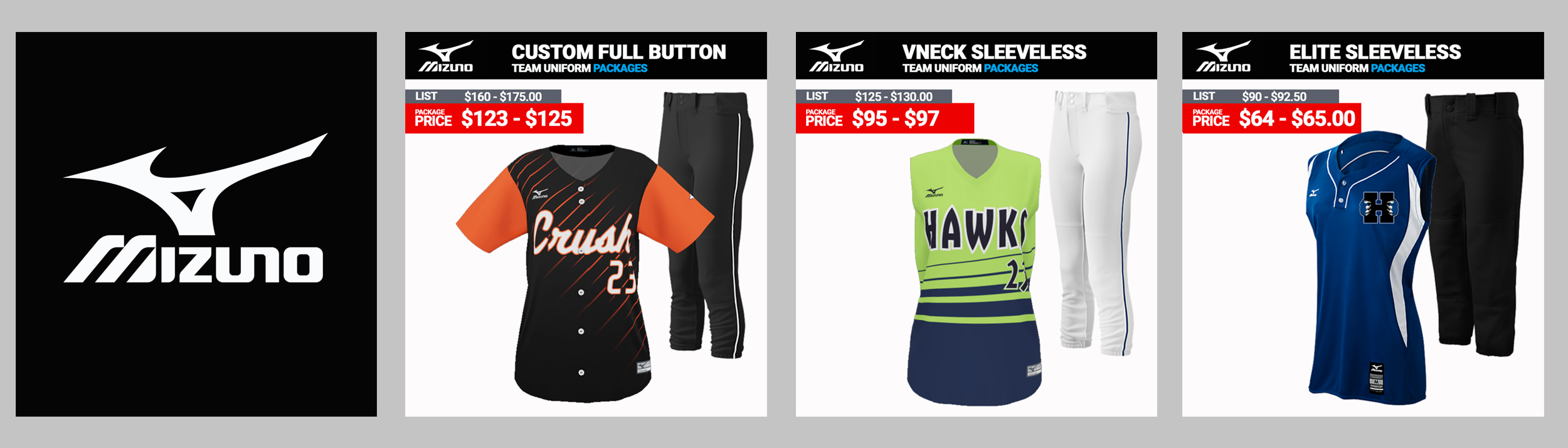 Mizuno Sublimated Softball Team Uniforms