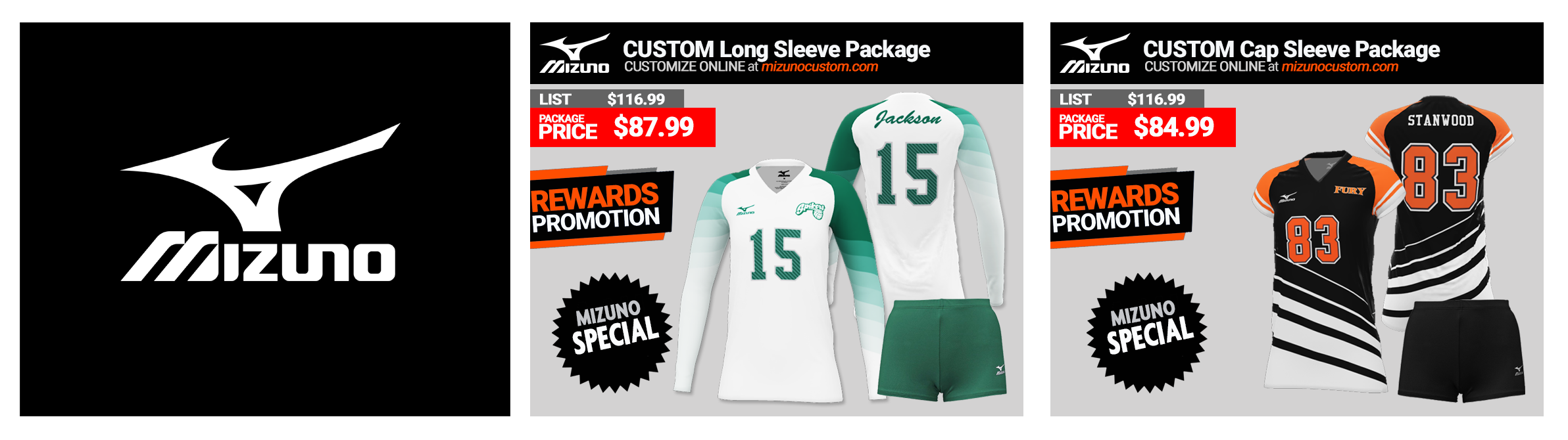 Mizuno Sublimated Custom Volleyball Uniform Packages