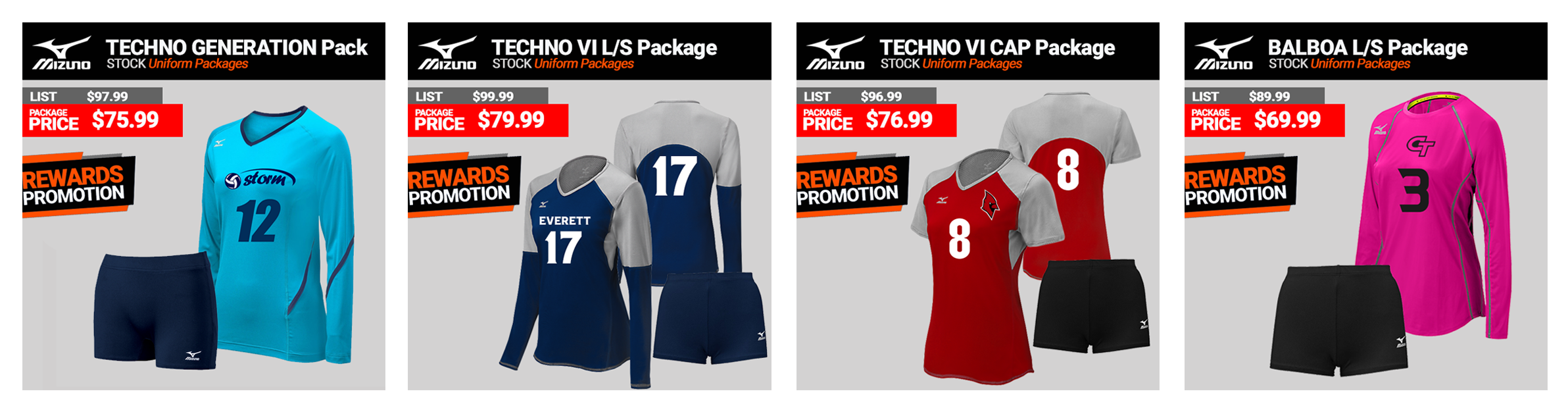 Mizuno Volleyball Uniform Packages