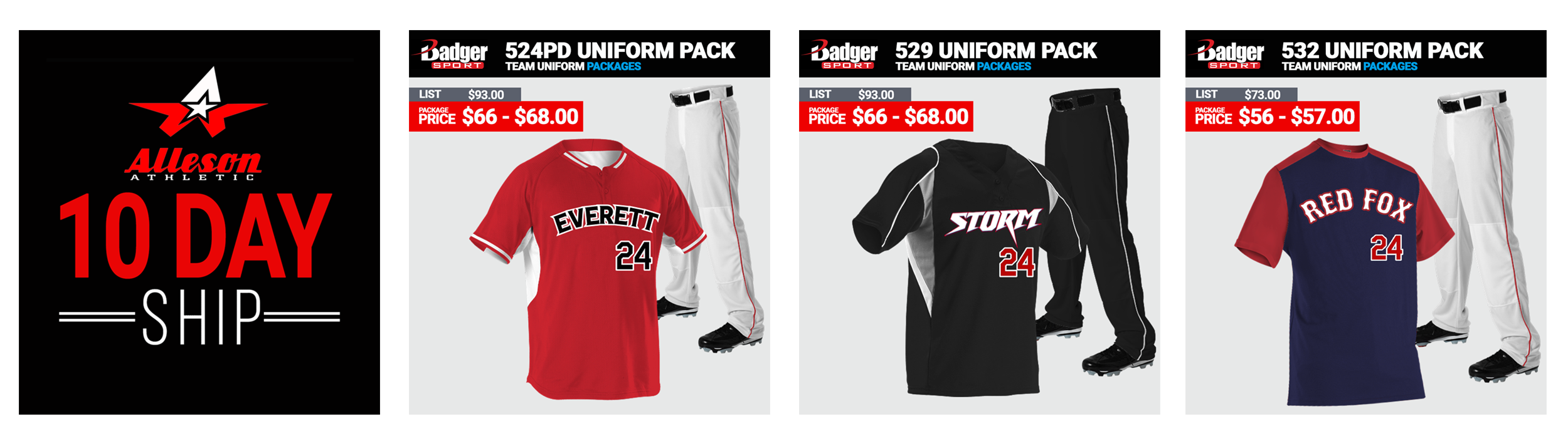 Alleson Baseball Uniform Packages