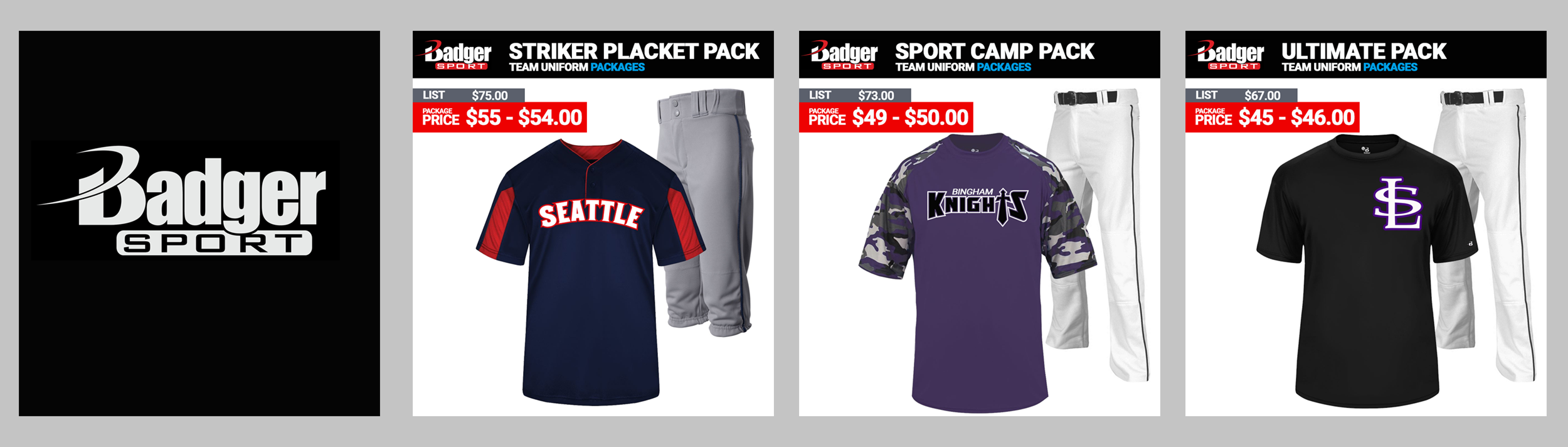 Badger Sport Baseball Uniform Packages