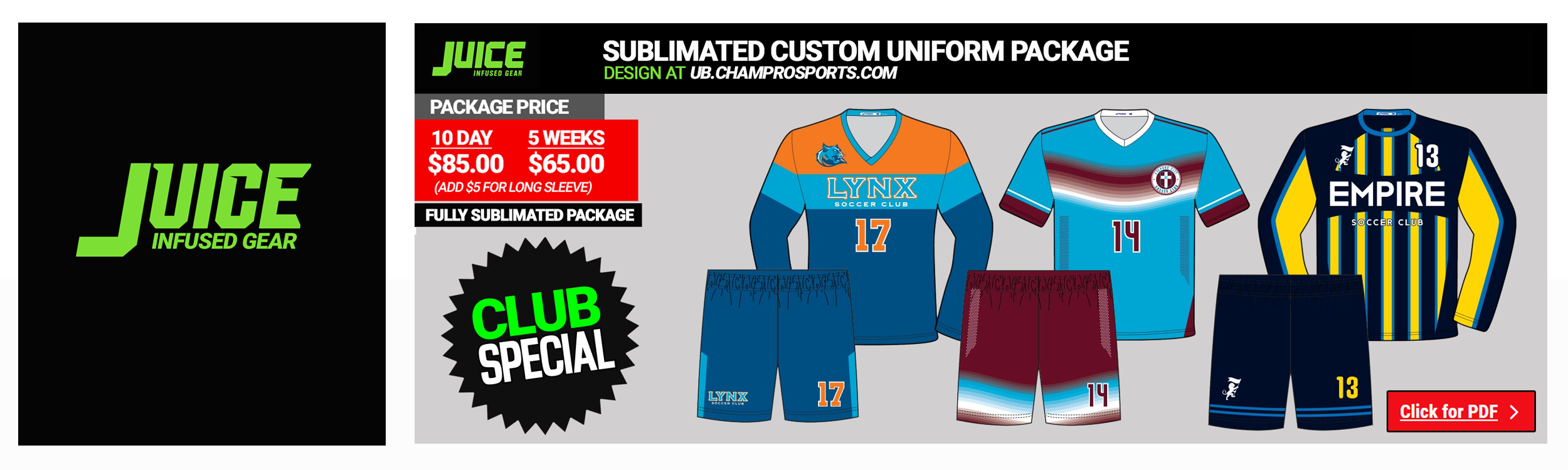 Sublimated Soccer Uniform Packages