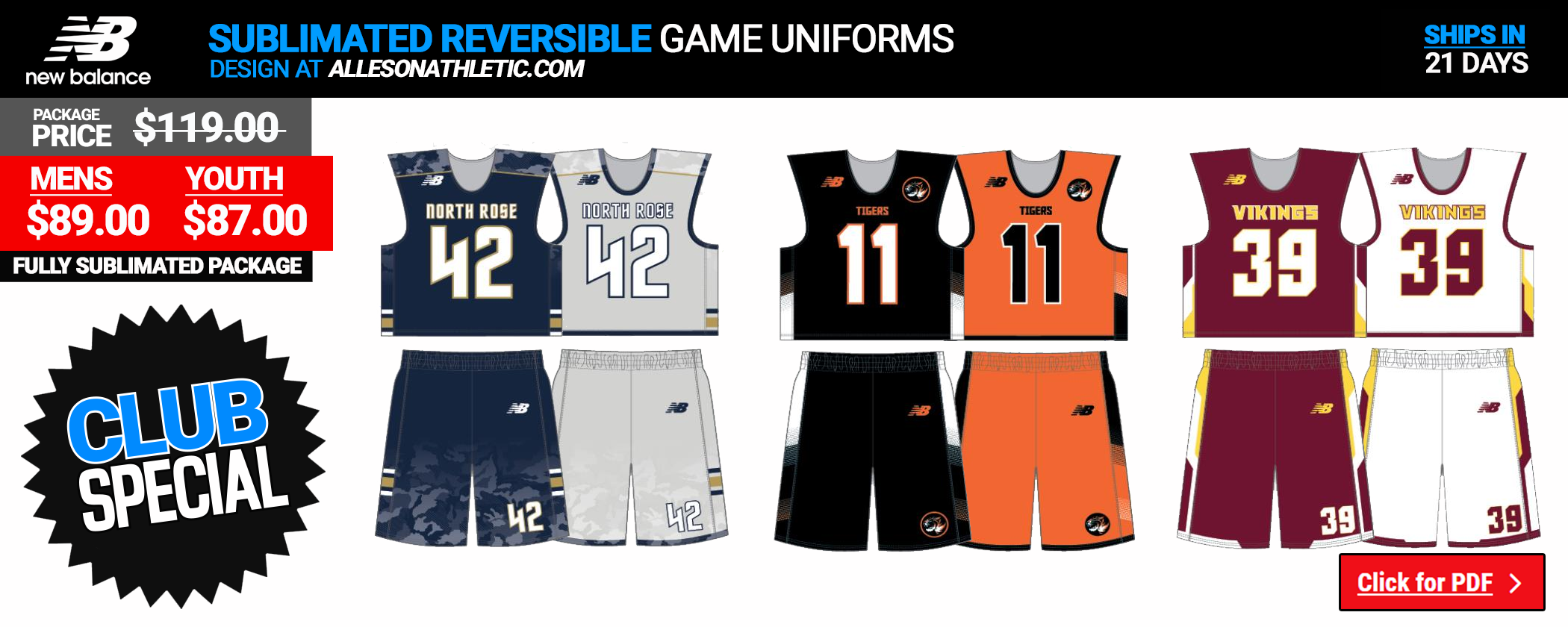 Mens Lacrosse Uniforms Sublimated Reversibles