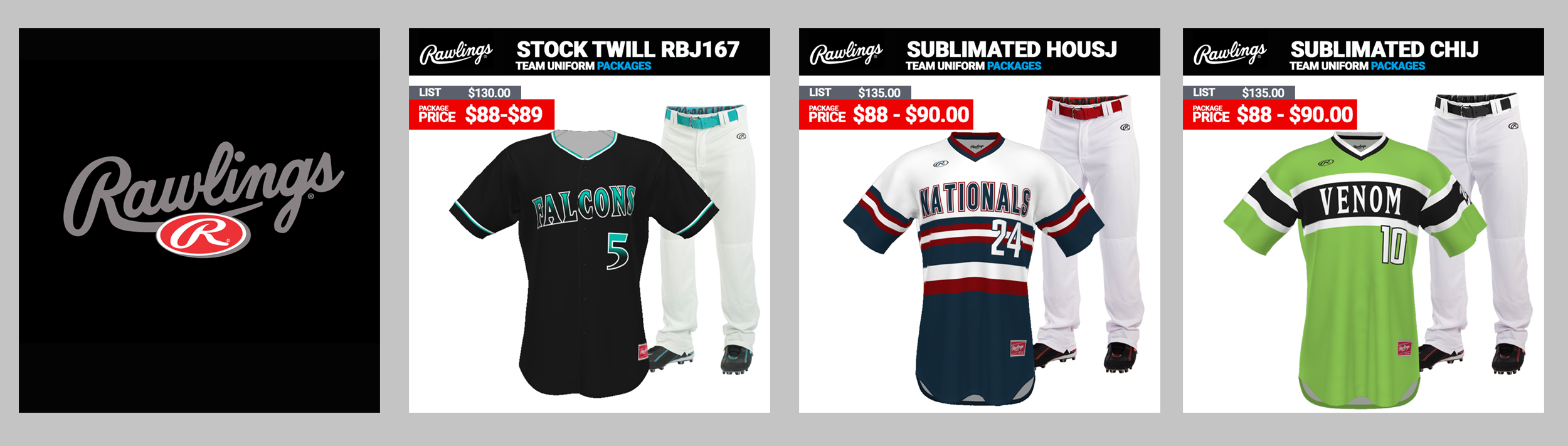 Rawlings Baseball Uniform Packages
